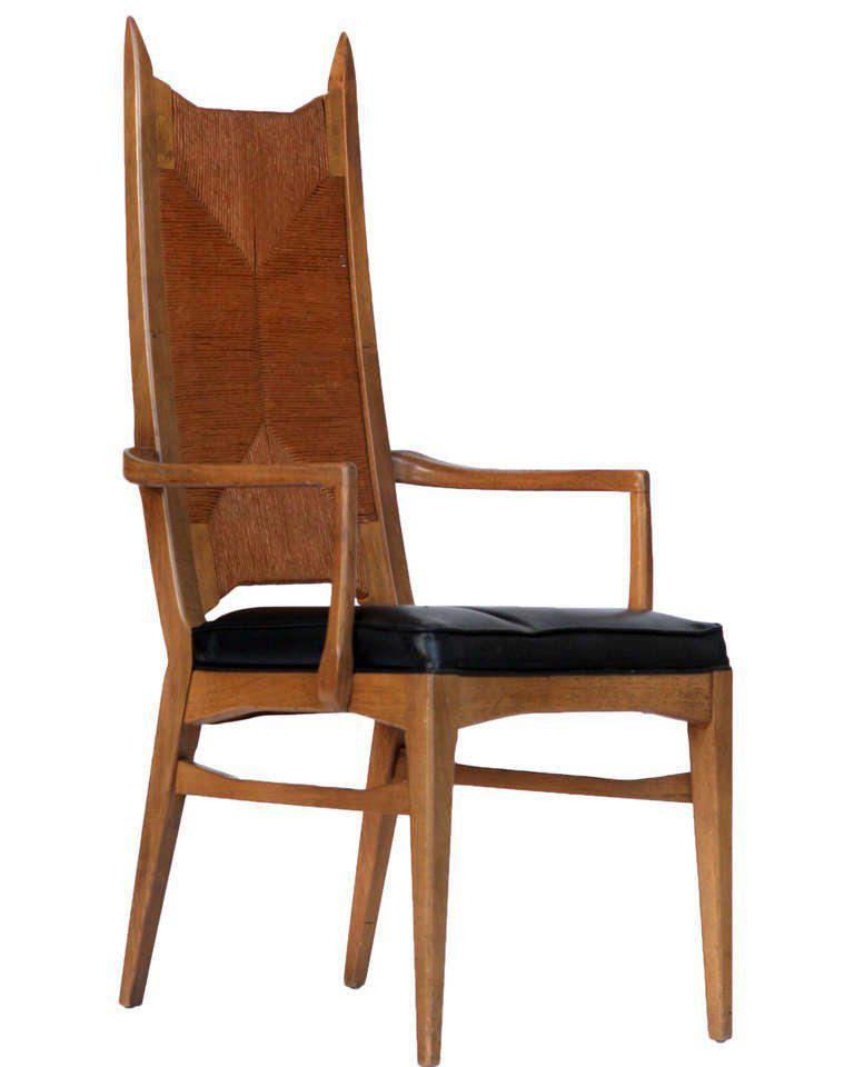 danish modern dining chairs fold up table and world class set of six high back cathedral bleached teak with original black vinyl seats