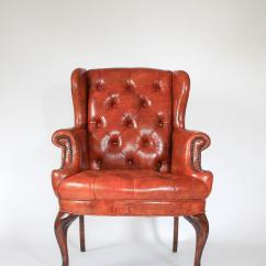 White Leather Wingback Chair Vintage Wooden Chairs Petite Tufted Chairish With Brass Nail Head Trim No Maker Mark Some