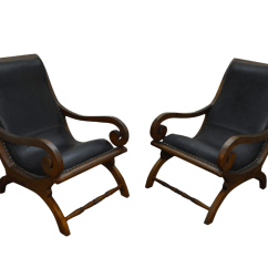 Plantation Style Chairs Foldable Long Sofa Chair British Colonial Solid Teak Leather Lounge A Pair For Sale