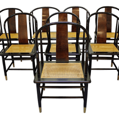 Henredon Asian Dining Chairs Dallas Cowboys Folding Chair Modern Black Lacquer Cane Set Of 8 For Sale