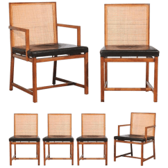 Dining Chairs With Caning Swivel Chair Risers Distinguished Rare Surviving Set Of Six Coveted Cane By Michael Taylor For Baker Sale