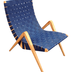 Webbed Chaise Lounge Chairs For Teen Rooms 1940s Mid Century Modern Jens Risom Style Navy Blue Scoop Birch Chair