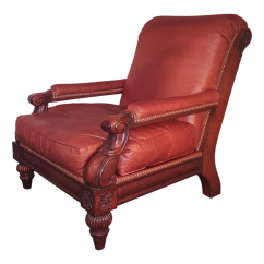 Stickley Leopold Chair For Sale Shower With Arms And Back Gently Used Furniture Up To 50 Off At Chairish Vintage Cibola Distressed Leather Mahogany Lounge Brass Nail Head Trim