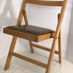 Brown Wooden Folding Chairs Used Broda Chair Vintage Made In Romania Chairish Nice With Vinyl Seat The Is Marked On Bottom