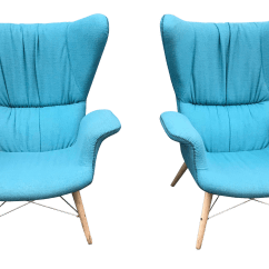 Turquoise Accent Chairs Beach Lounge Chair Folding Vintage Used Chairish Contemporary Blue Papa Bear Style Club A Pair