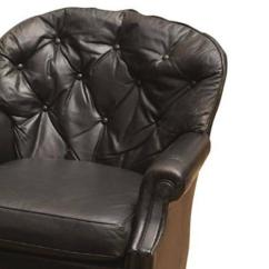 Black Leather Club Chair And Ottoman Steel Frame Design Chesterfield Chairish With Rounded Tufted Back Raised On Mahogany