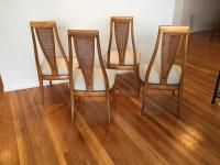 Mid-Century Modern High Caned Back Dining Chairs - Set of ...
