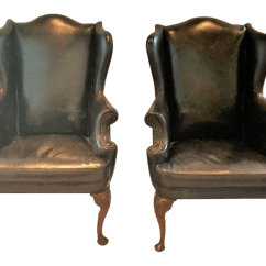 Traditional Leather Wingback Chair Diy Wood Mat English Black Chairs A Pair Chairish For Sale