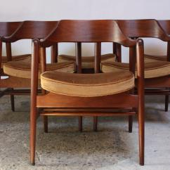 Wh Gunlocke Chair And Stool Heights Excellent Set Of Six W H Sculptural Walnut Armchairs Decaso Mid Century Modern For Sale Image