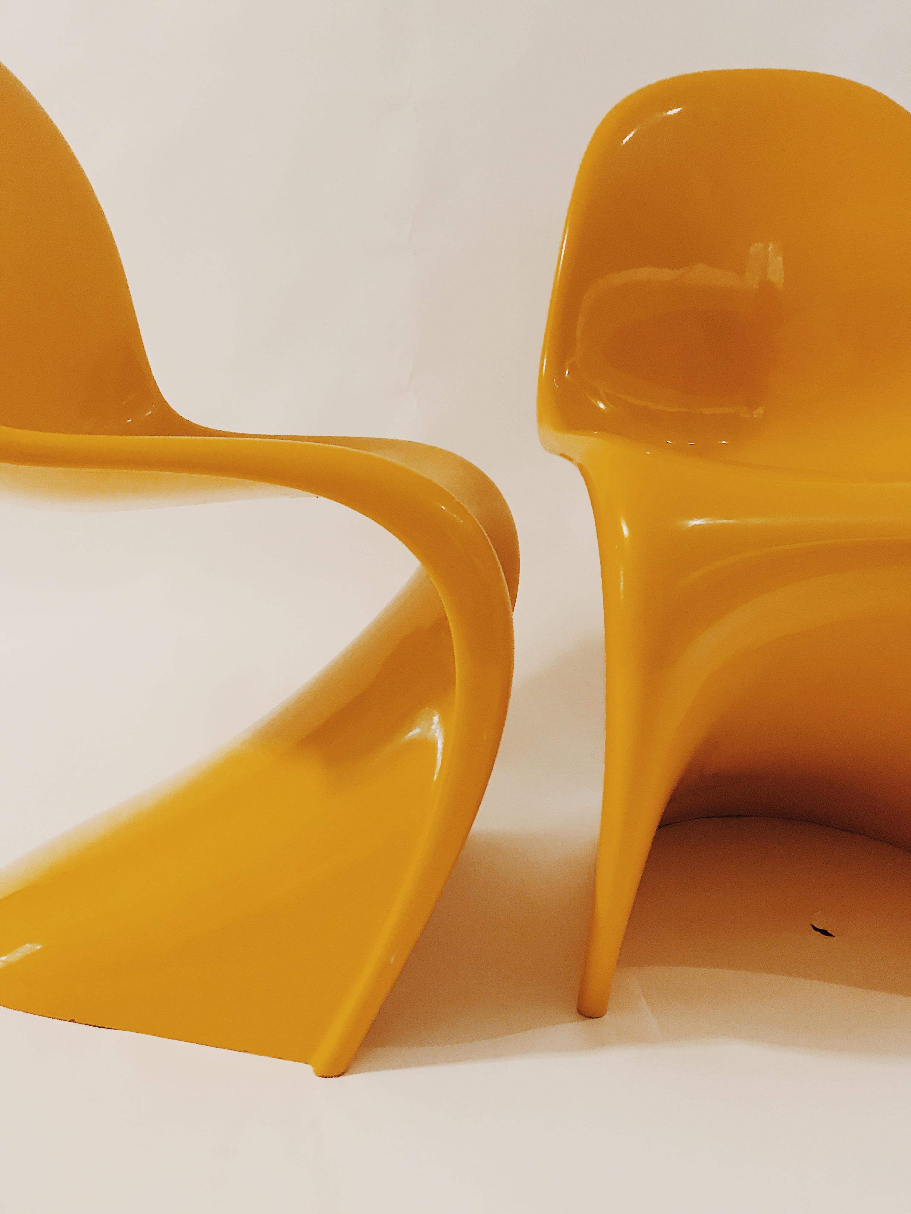 panton s chair chaise lounge patio verner set of 4 chairish plastic for sale image 7