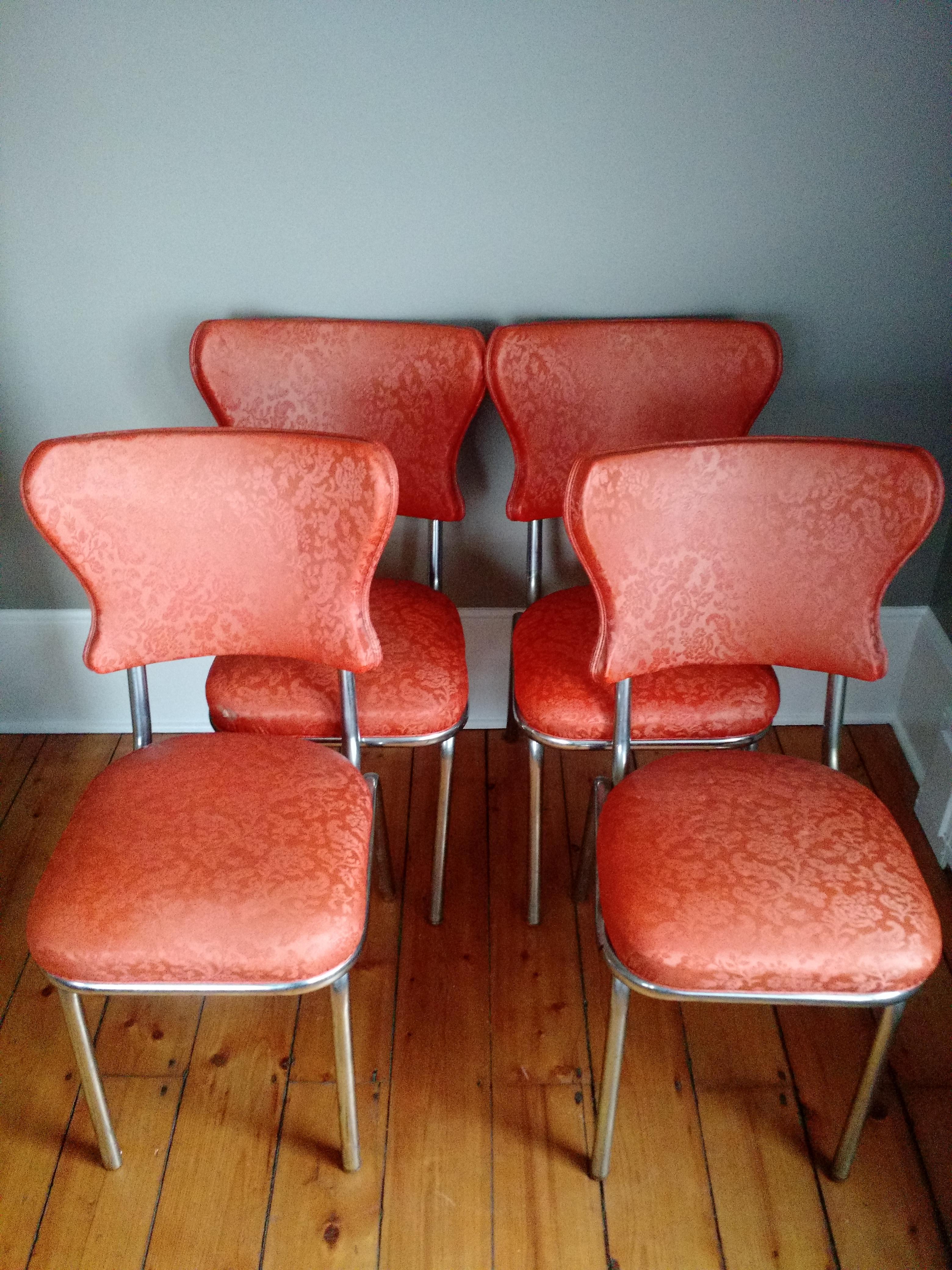 retro chrome chairs lounge chair ottoman 1950s vinyl dining set of 4 chairish authentic orange kitchenette one has