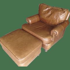 Bernhardt Brown Leather Club Chair Rocking Front Porch Design Ideas Modern Light Ottoman Chairish For Sale