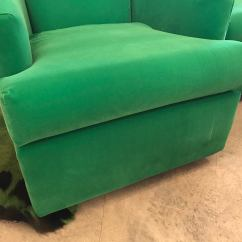 Green Velvet Swivel Chair Chairs That Fold Out Into Beds Restored Bright A Pair Chairish For Sale Image 8