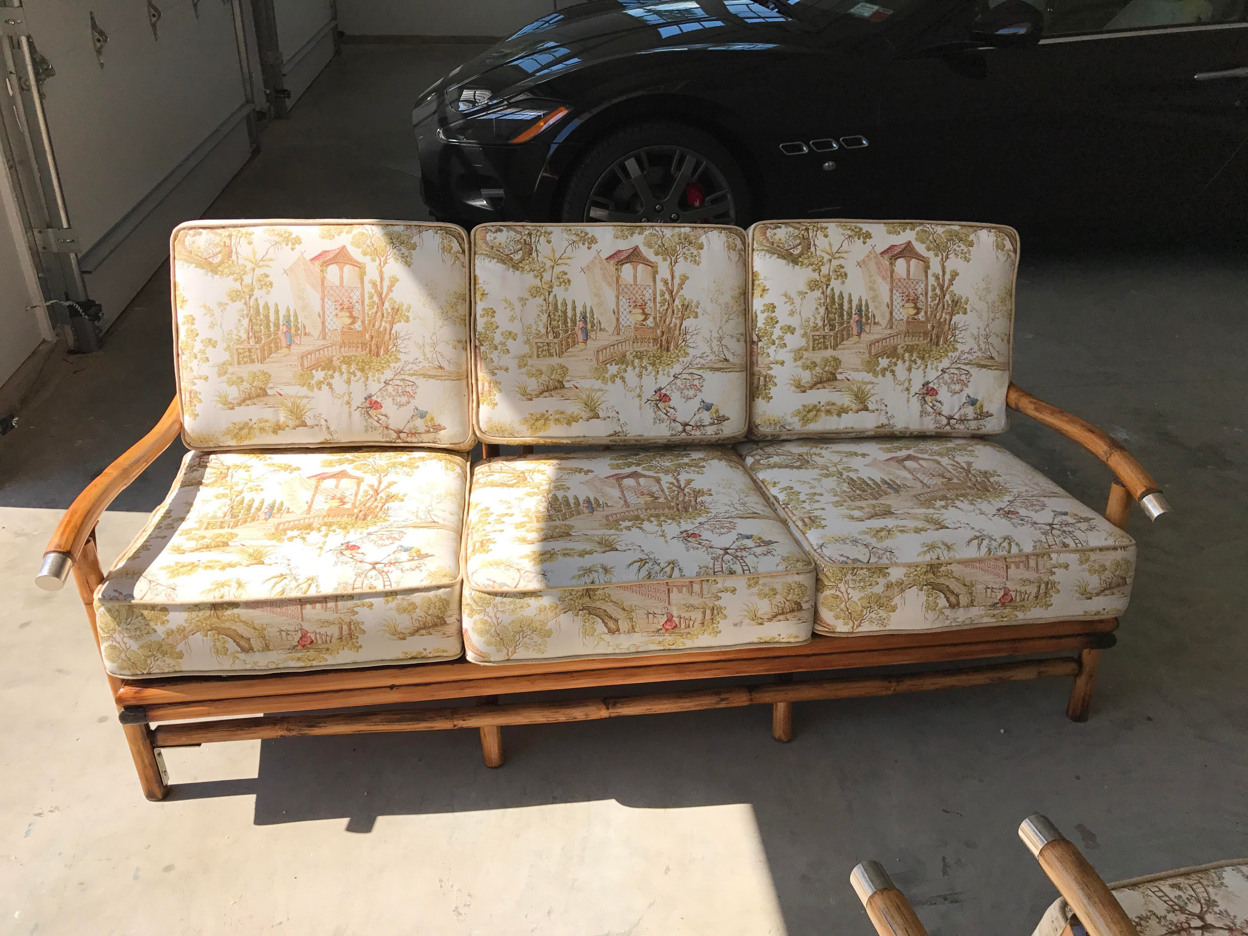 bamboo couch and chairs glider rocking chair parts sofa set of 3 chairish for sale image 4