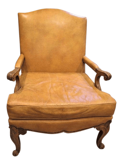 leather bergere chair and ottoman small massage vintage used chairs chairish 1930s baker mustard for sale