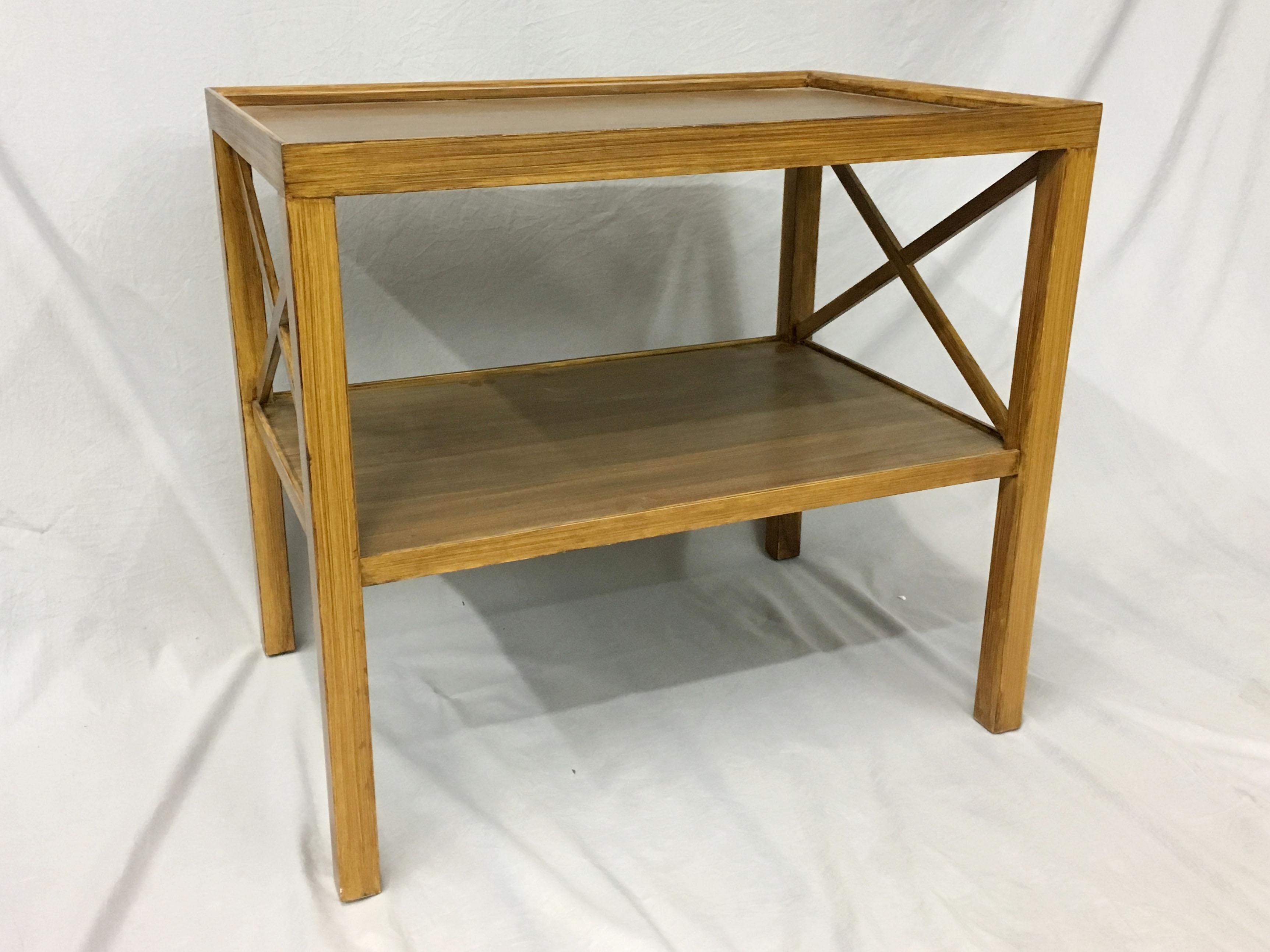 mid century side table with raised edges
