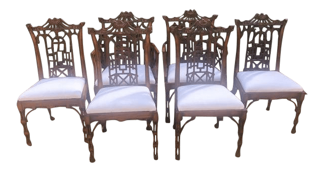 chippendale dining chair office without wheels chinese chairs set of 6 chairish for sale
