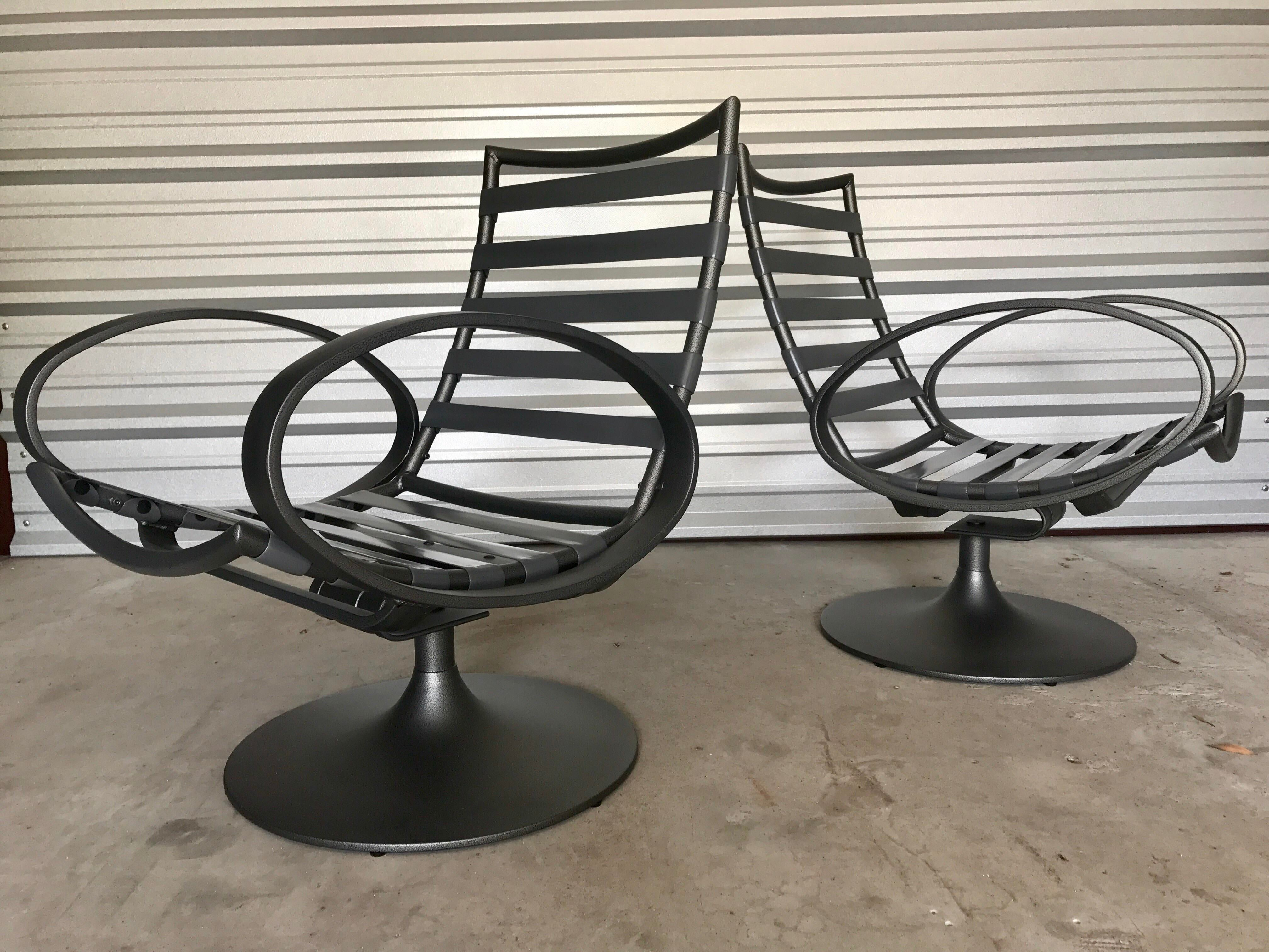 tropitone lounge chairs beauty salon hair washing chair outdoor a pair chairish rare set of two mid century modern patio swivel by great looking