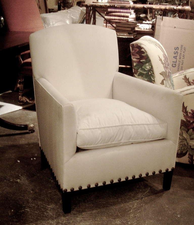 art deco style club chairs reclining outdoor excellent pair of english with nailhead one detail great compact scale