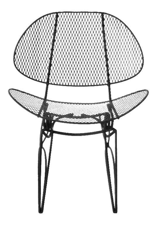 1950s recently restored homecrest wrought iron mesh rocking patio chair
