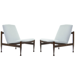 Contemporary Lounge Chairs White Resin Adirondack Luxury Danish Modern Brass Accented A Pair Decaso For Sale