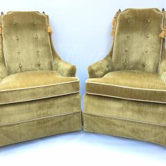 Crushed Velvet Chair Swivel Dinette Sets Hollywood Regency Green Chairs A Pair Chairish Perfect Touch Of In Any Home These By Perfection Furniture