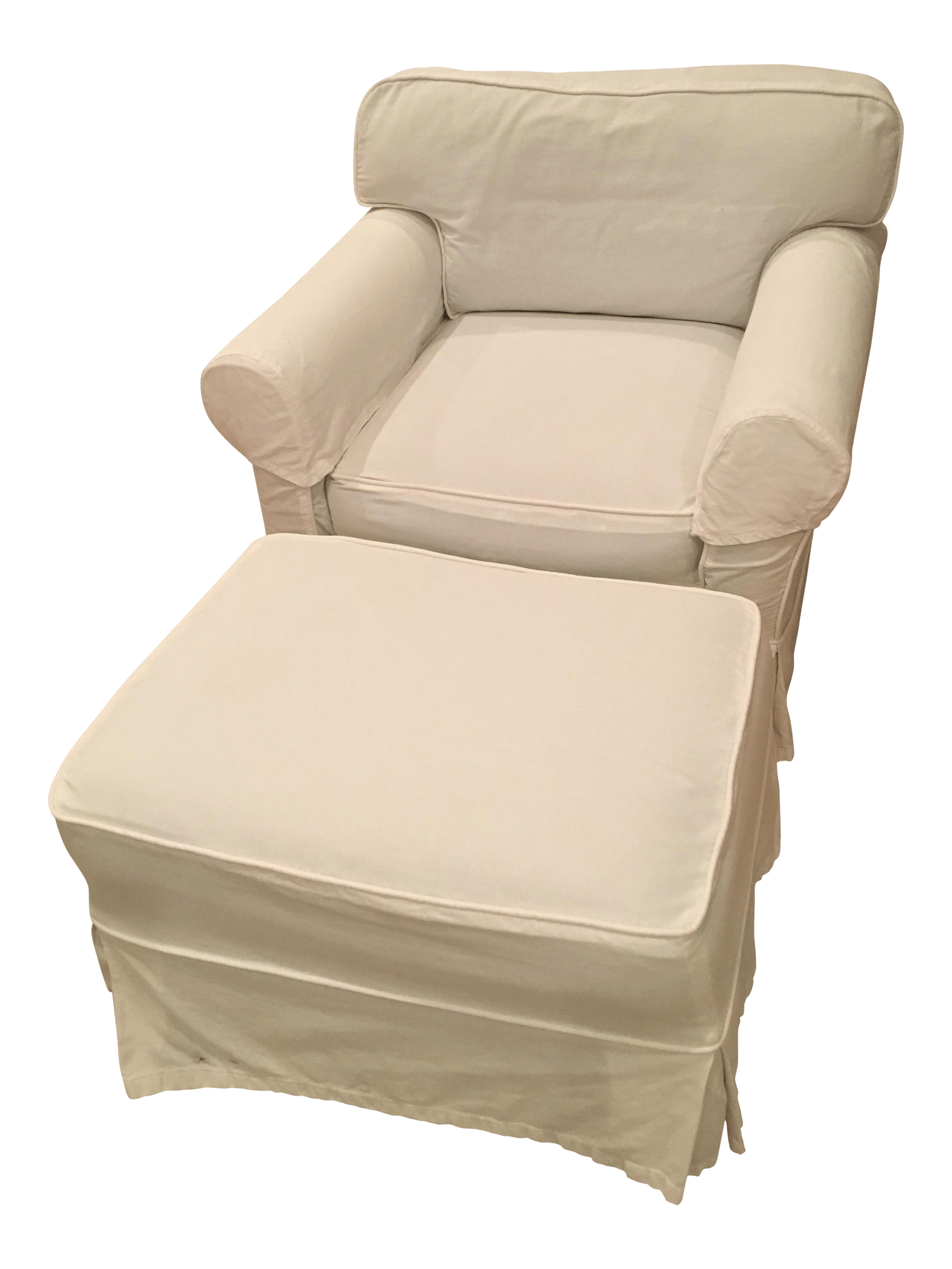 white slipcover chair and ottoman orange patio chairs slipcovered chairish for sale