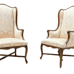 Country Style Wingback Chairs Lowes Lawn Chair Cushions Vintage French Carved Walnut A Pair Chairish For Sale