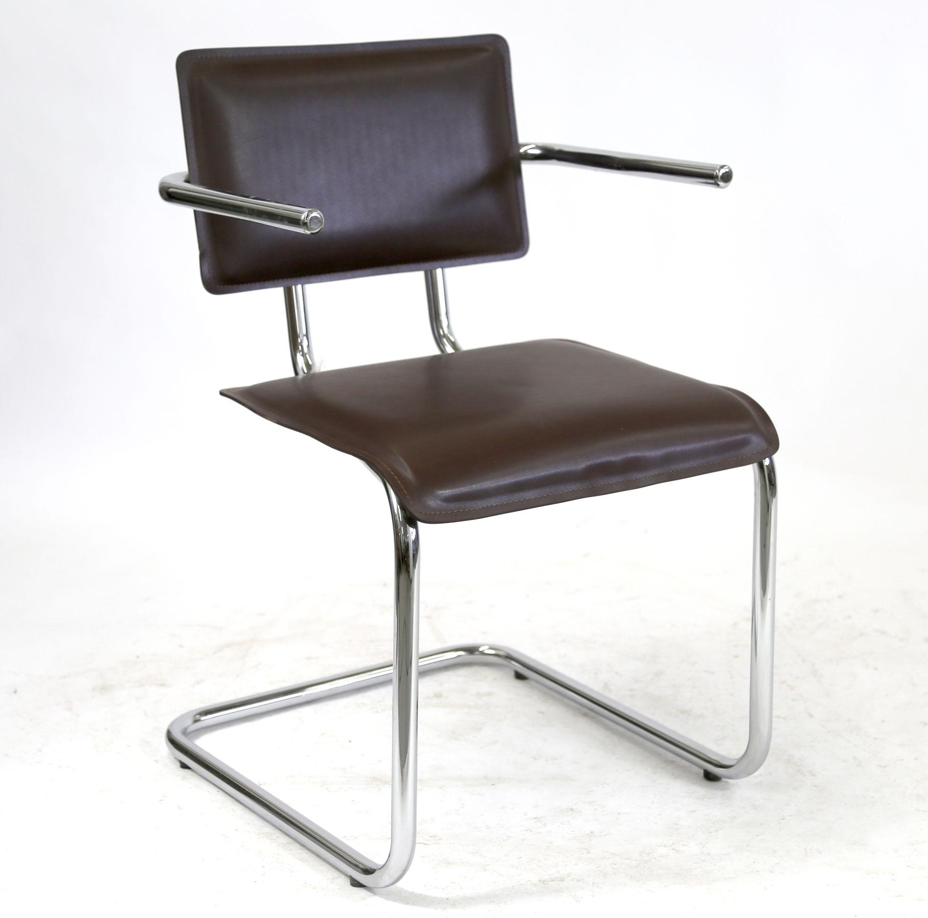 dark brown leather chair recliner slipcovers kehl brazilian modern chrome tube frame arm in beautiful bauhaus inspired with is a furniture design