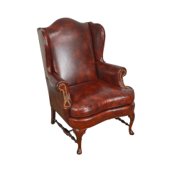 Queen Anne Wingback Chair Leather Dining Covers Brisbane Vintage Used Chairs Chairish 18th Century Style Brown Wing