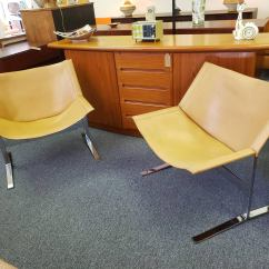 Leather Sling Chairs High Chair Small Spaces Mid Century Modern By Clement Meadmore A Pair Rare Of Designed This Style