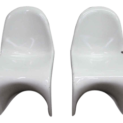 Panton S Chair Wedding Covers Rose 1960s Verner Mid Century Modern White Chairs A Pair For