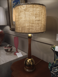 Mid-Century Wood & Brass Table Lamp with Shade   Chairish