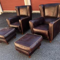 Leather Bergere Chair And Ottoman Wheelchair Mario Baxter Chairs With Pouf Ottomans 4 Pc Set Chairish For Sale Image