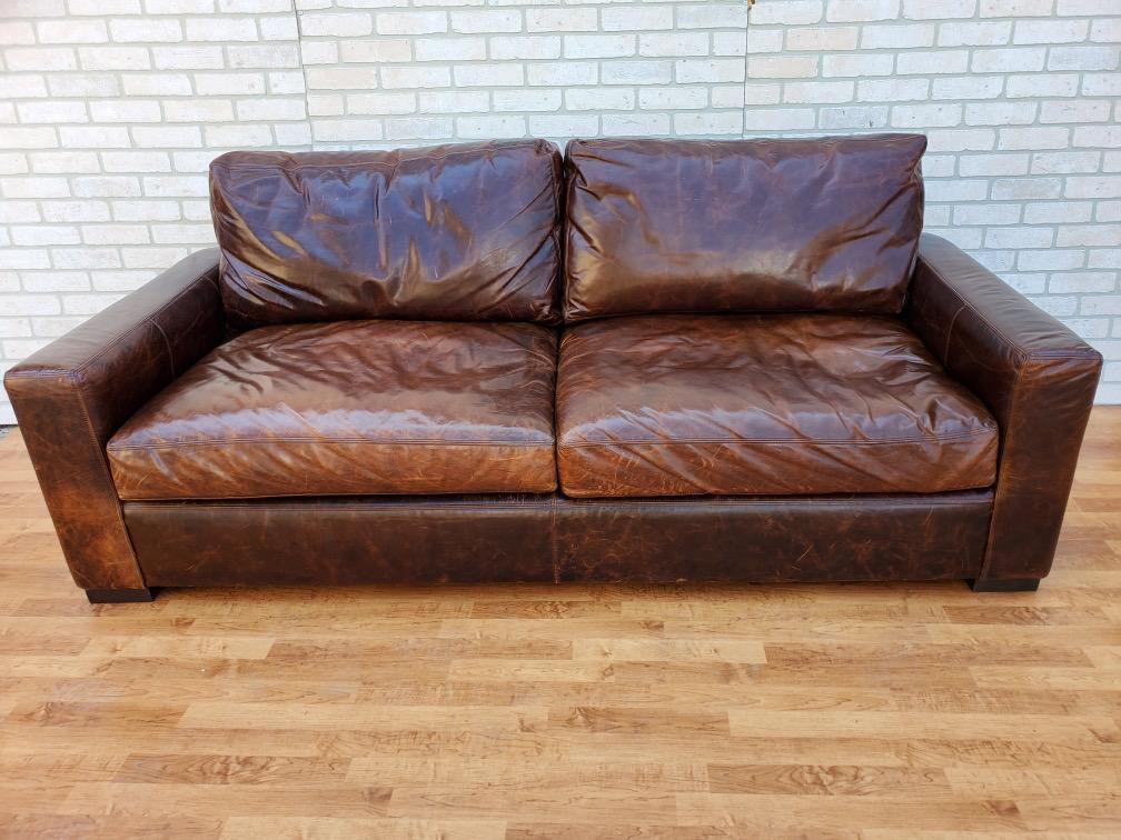 restoration hardware classic italian brompton cocoa maxwell leather sofa