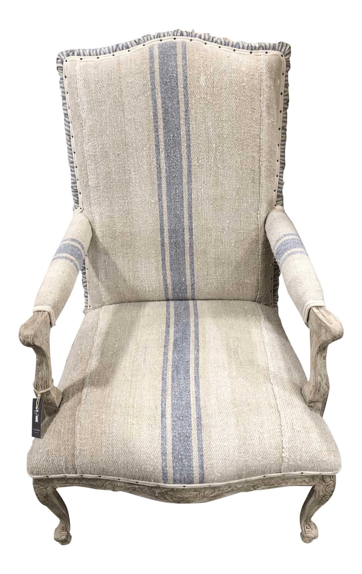 Grain Sack Chair French Grain Sack High Back Chair
