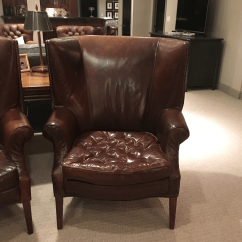 Traditional Leather Wingback Chair Loveseat And Combo Restoration Hardware Drake Chairs A Pair For Sale Image 3