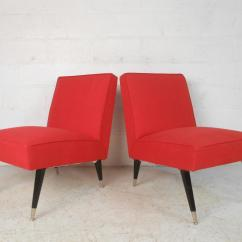 Modern Slipper Chair Louis Ghost Design Year Mid Century Italian Chairs A Pair Chairish This Beautiful Of Vintage Feature Red Upholstery And Tapered Black Lacquered