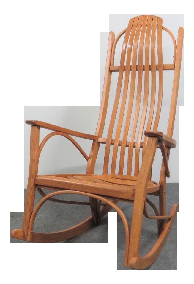 bent wood rocking chair wheelchair repair kitchener adirondack oak bentwood chairish for sale