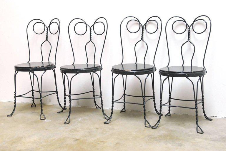 metal bistro chairs kneeling chair design or ice cream parlor set of 4 chairish charming four french made iron