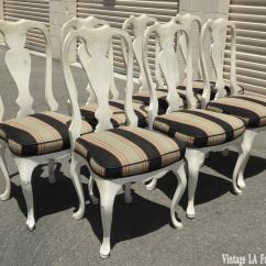 White Distressed Dining Chairs Rocking Camping Chair Vintage French Country Set Of 7 For Sale Image 4