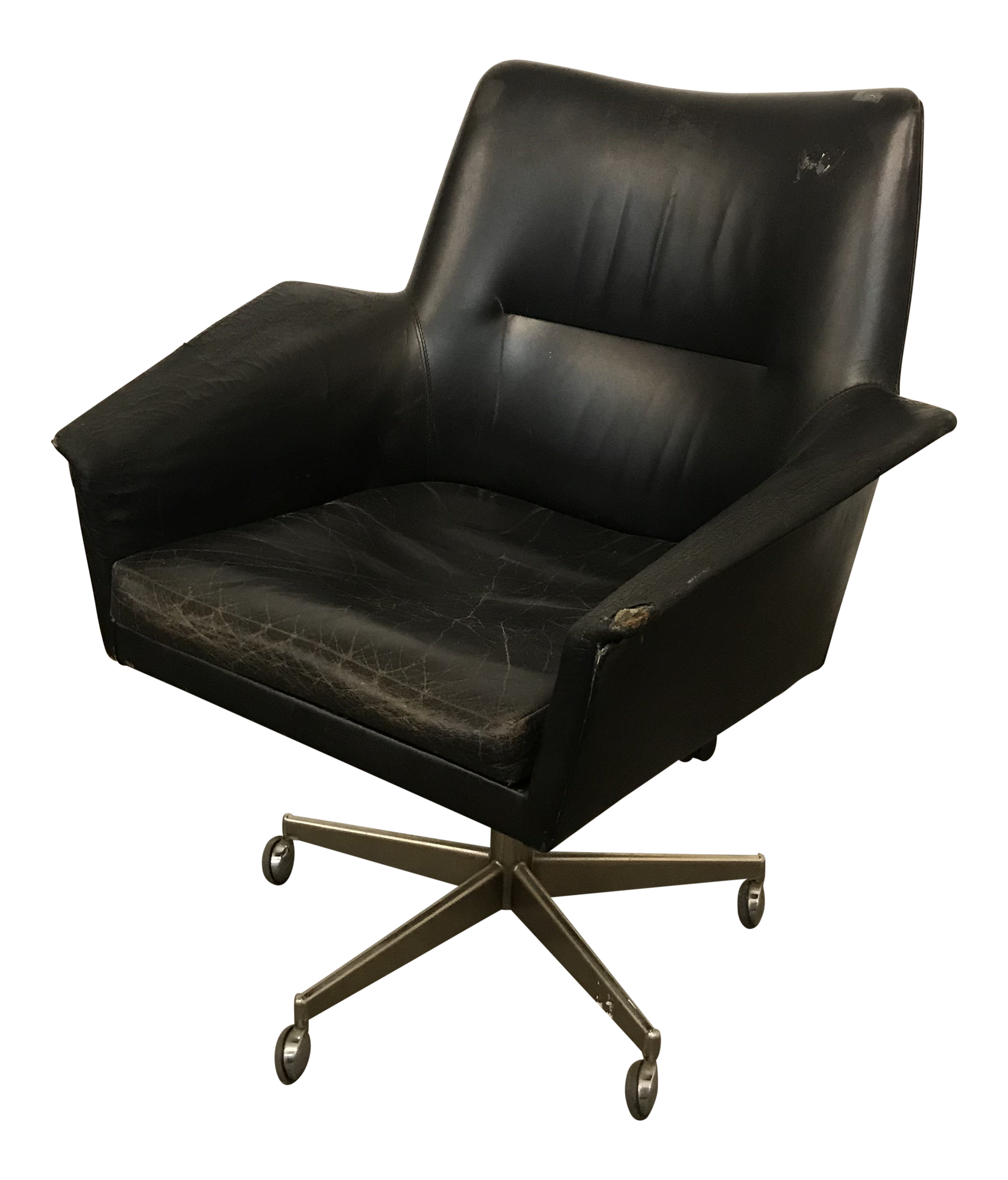 modern grey leather office chair dining covers uk blue mid century adjustable black by erik jorgensen