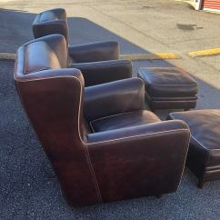 Leather Bergere Chair And Ottoman Outside Pub Table Chairs Baxter With Pouf Ottomans 4 Pc Set Chairish Americana For Sale