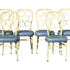 Blue Bistro Chairs Boon Flair High Chair Straps Mid Century French Country Yellow Set Of 6 For Sale