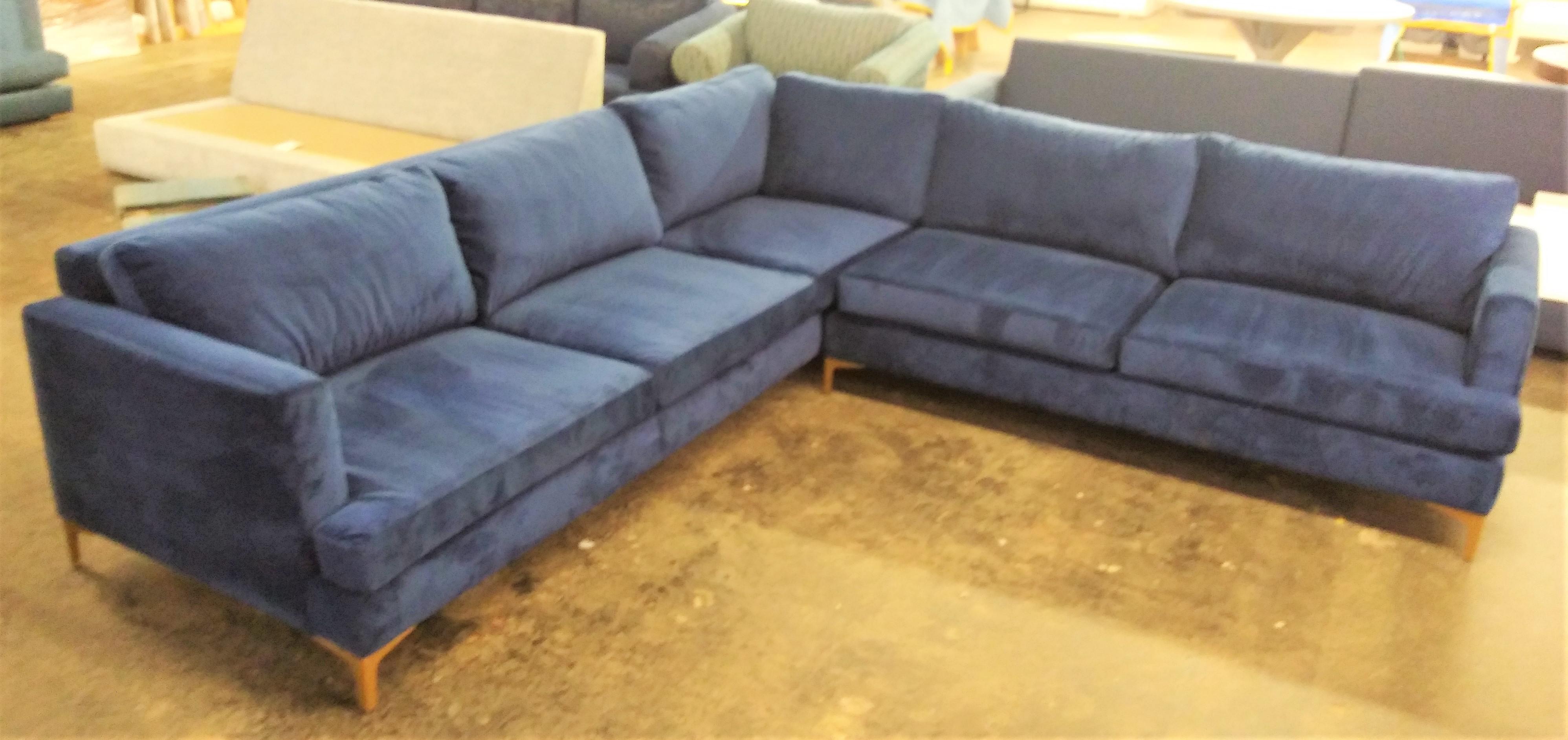 aria blue velvet sectional sofa