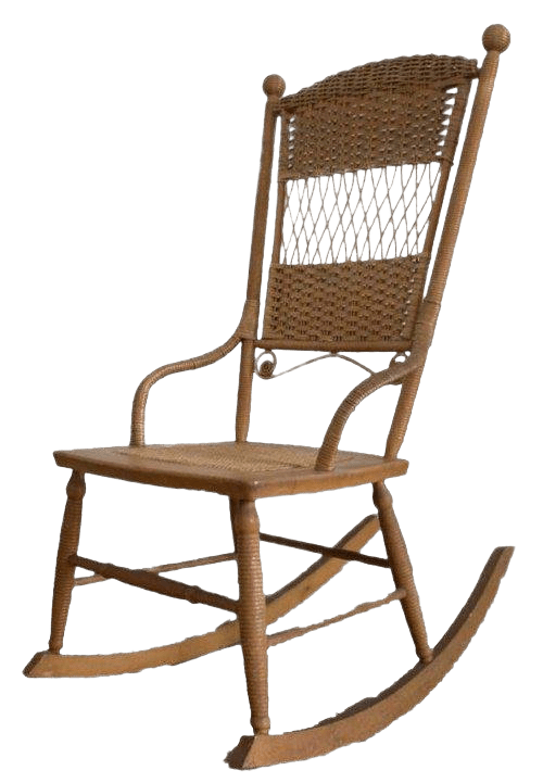 vintage wicker rocking chair bonded leather and ottoman chairish