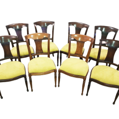 Yellow Chairs For Sale Ford Flex With Captains Vintage Used Dining Chairish Set Of 8 French Oak Early 20th Century Reupholstered