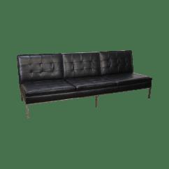 Armless White Leather Sofa Cream Cushions Home And Textiles