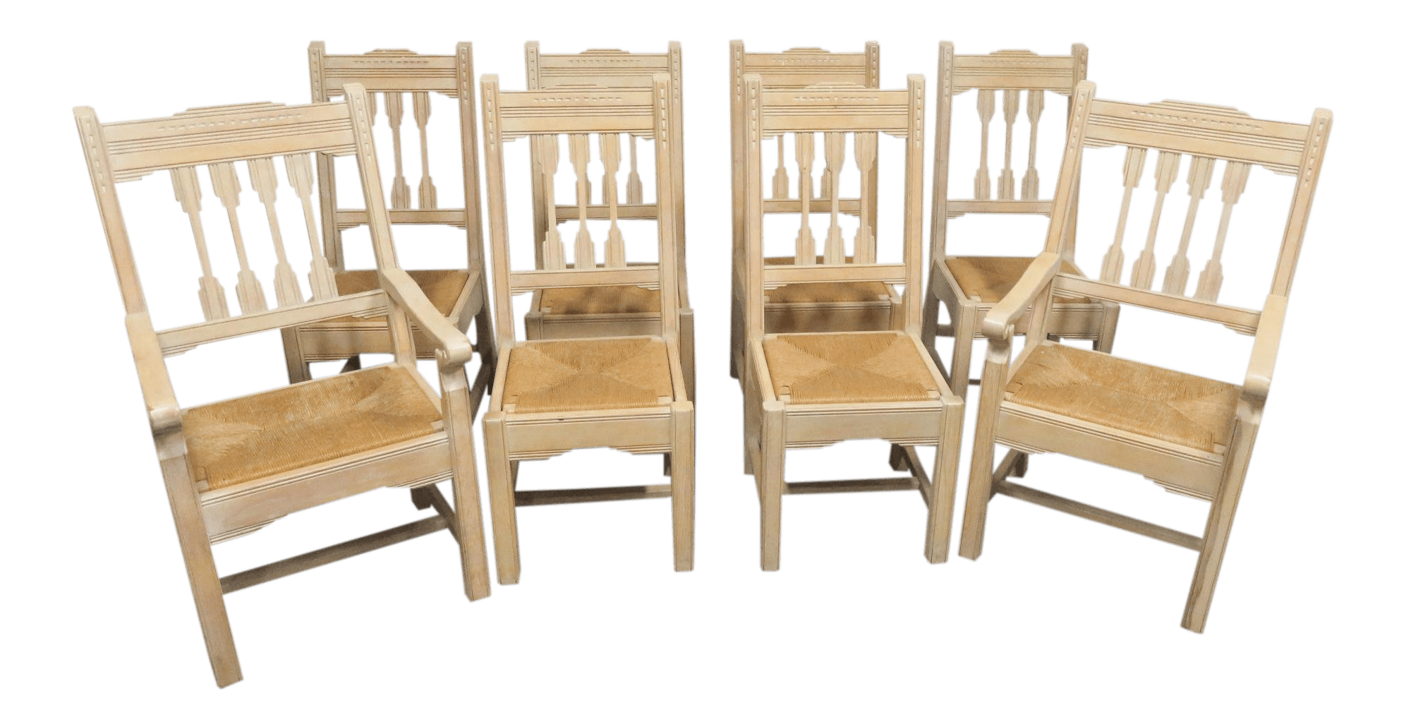 Western Chairs South Western Style Pine Carved Rush Seat Chairs Set Of 8