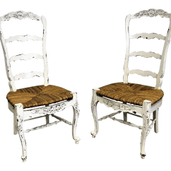 White Ladder Back Chairs Rush Seats Reclining Wingback Chair Covers Pair Of French Country Carved 4 Rung Seat Ladderback Dining For Sale